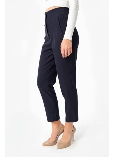 Jument Kadın Yüksek Bel Rahat Kesim Şık Ofis Pantolon-Zümrüt Lacivert